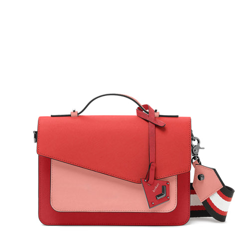 botkier cobble hill structured asymetric flap crossbody in pepper red and salmon pink colorblock