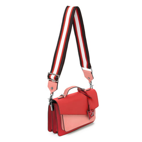 botkier cobble hill structured asymetric flap crossbody in pepper red and salmon pink colorblock Alternate View