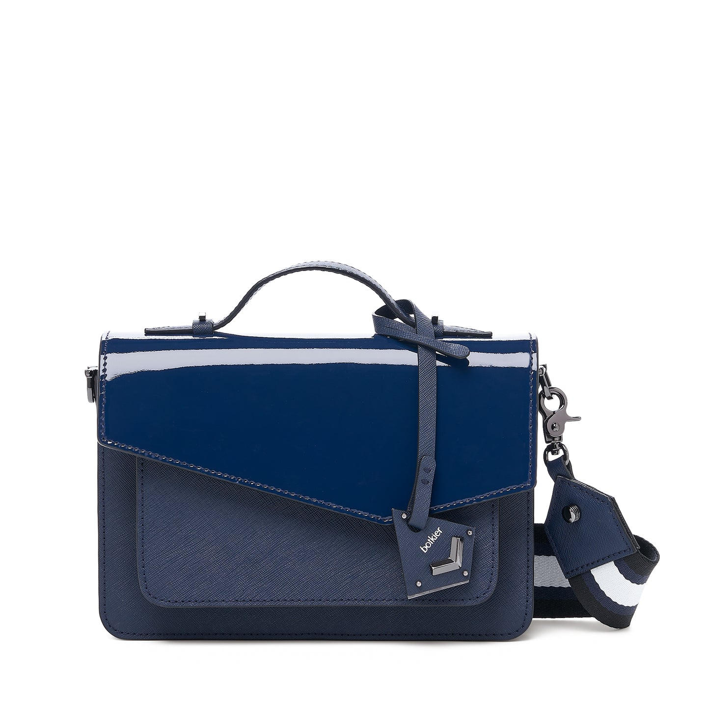botkier cobble hill structured asymetric flap crossbody in red with navy blue with navy blue paten flap