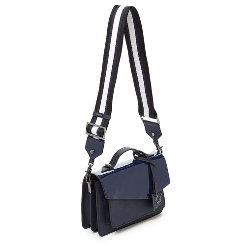 botkier cobble hill structured asymetric flap crossbody in red with navy blue with navy blue paten flap Alternate View