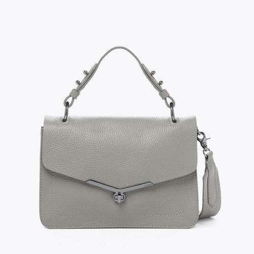 botkier valentina flap front clasp satchel in silver grey