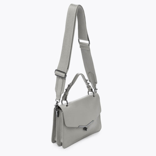 botkier valentina flap front clasp satchel in silver grey Alternate View