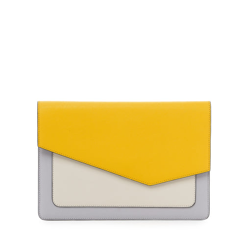 botkier cobble hill flap clutch in marigold yellow and grey combo