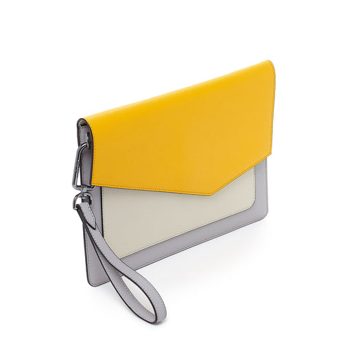 botkier cobble hill flap clutch in marigold yellow and grey combo Alternate View