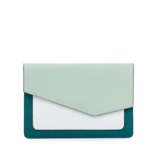 botkier cobble hill flap clutch in emerlad green combo
