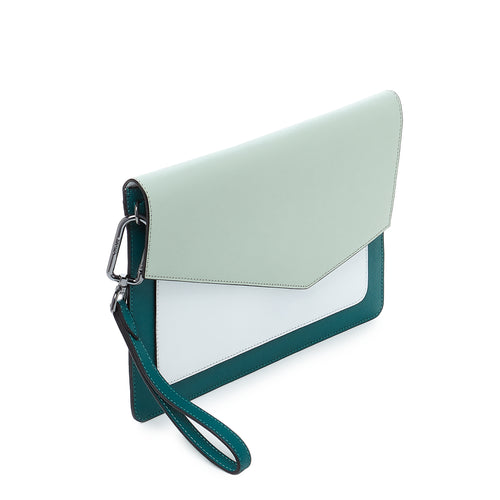 botkier cobble hill flap clutch in emerlad green combo Alternate View