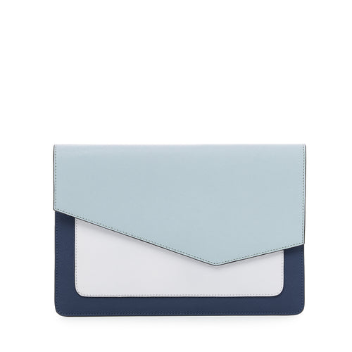 botkier cobble hill flap clutch in ink bue combo