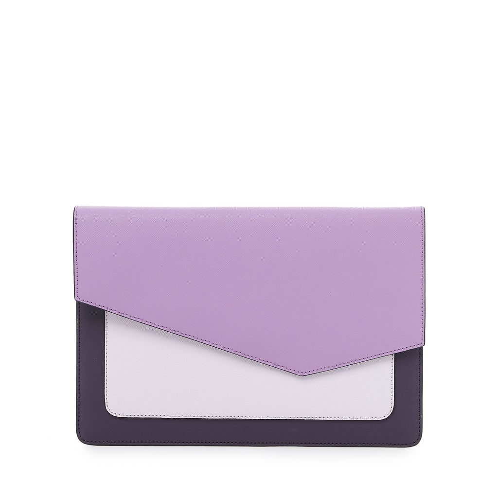 botkier cobble hill flap clutch in purple combo