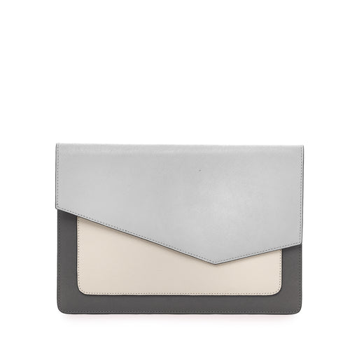 botkier cobble hill flap clutch in pewter grey combo