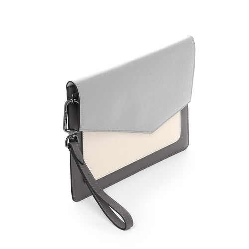 botkier cobble hill flap clutch in pewter grey combo Alternate View
