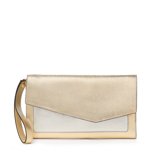 cobble hill clutch in gold colorblock