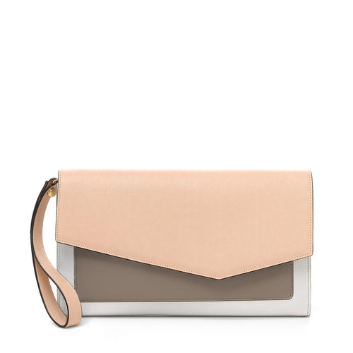 cobble hill clutch in peach colorblock