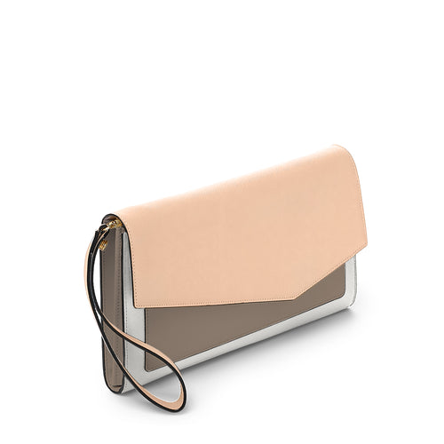 cobble hill clutch in peach colorblock Alternate View
