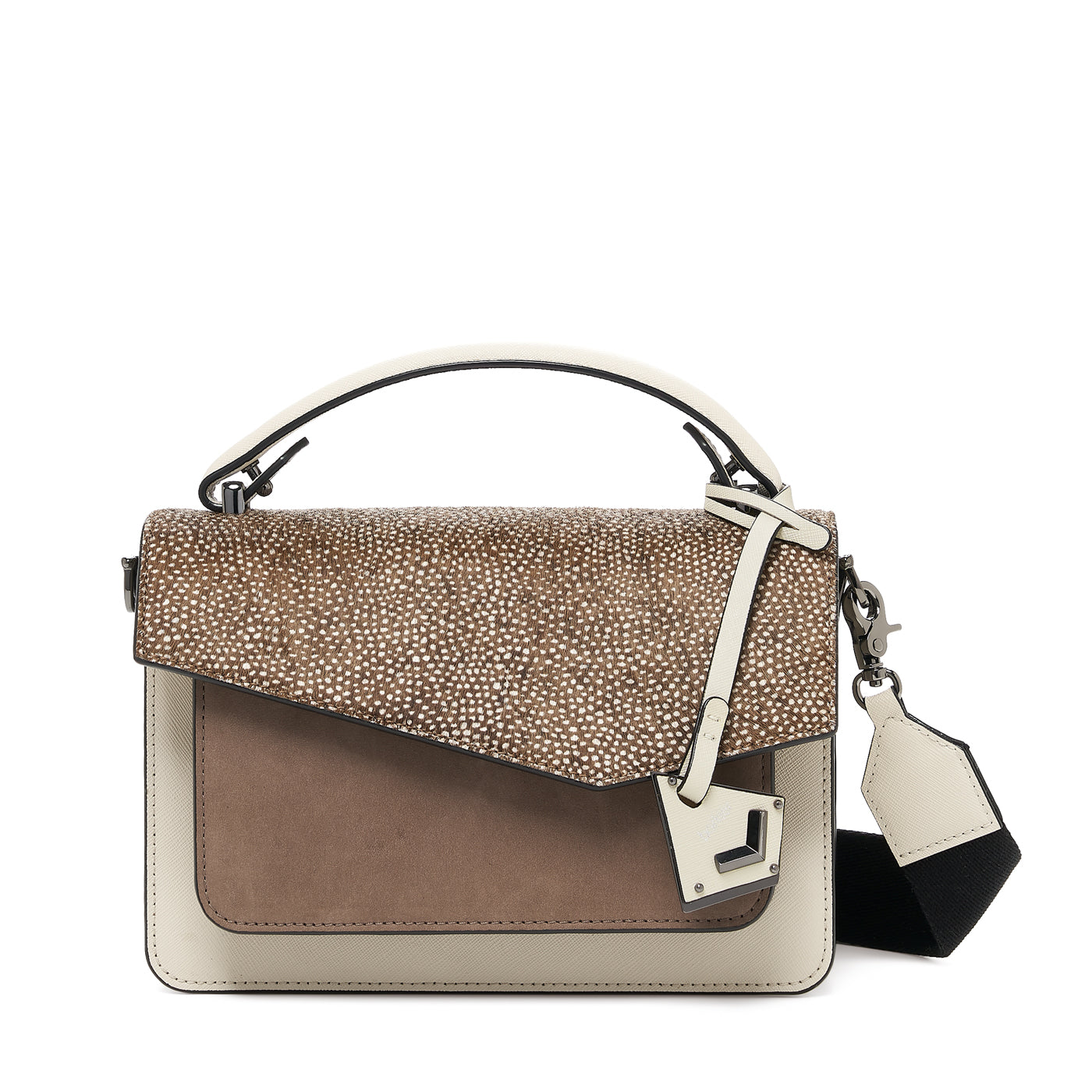 botkier cobble hill crossbody ivory snowfur front