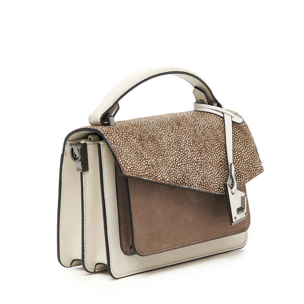 botkier cobble hill crossbody ivory snowfur angle