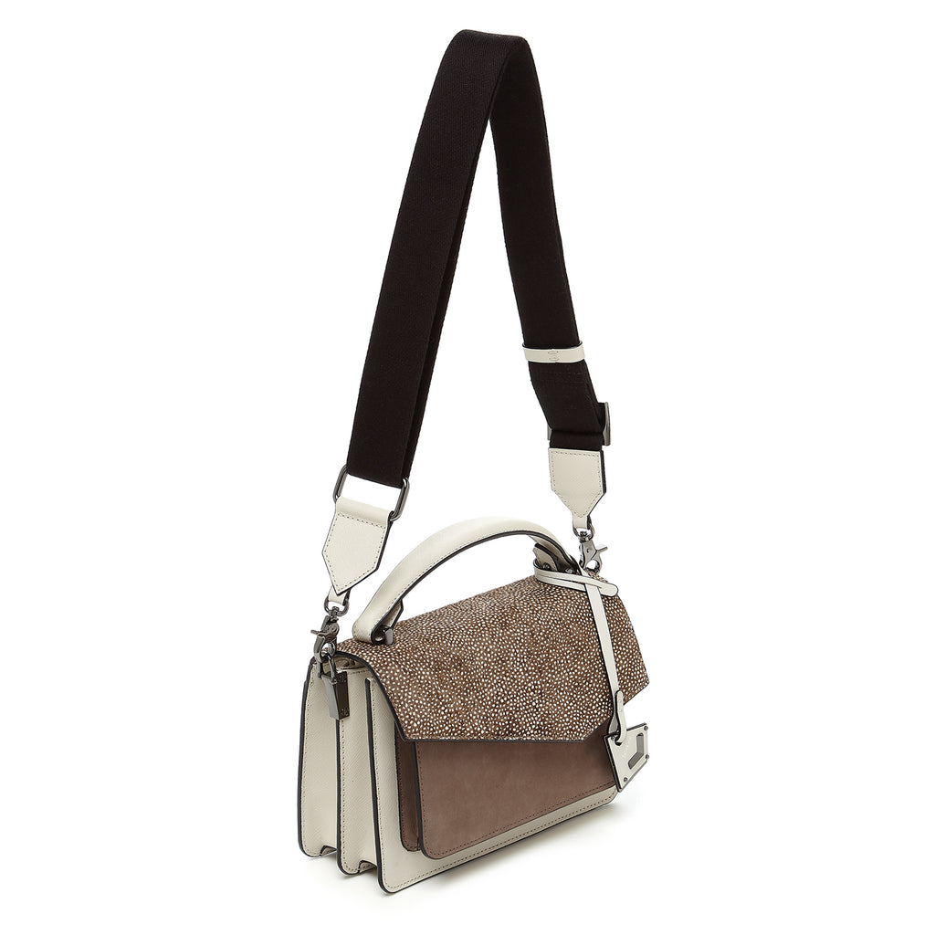 botkier cobble hill crossbody ivory snowfur webbed strap