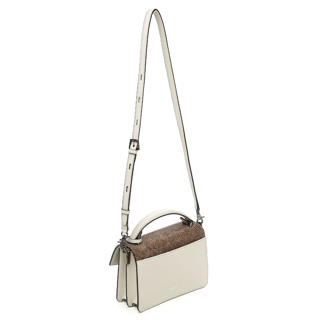 botkier cobble hill crossbody ivory snowfur leather strap