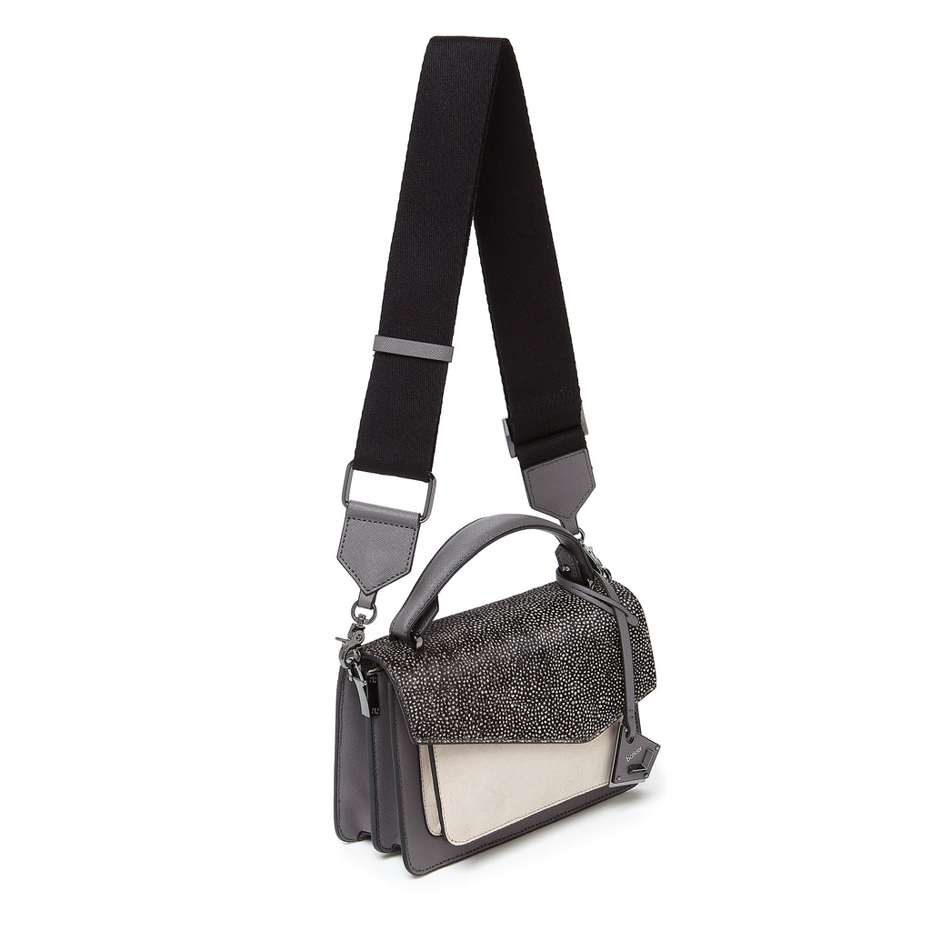 botkier cobble hill crossbody smoke snowfur webbed strap