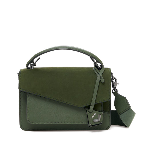 botkier cobble hill crossbody hunter green sliced front