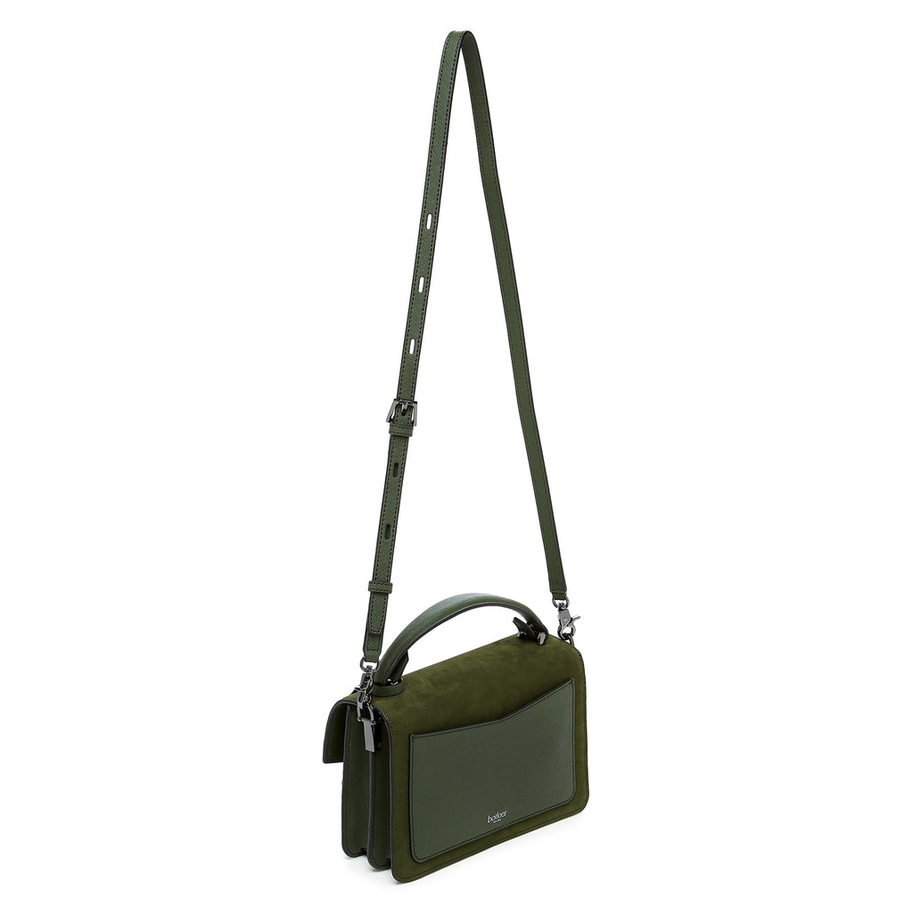botkier cobble hill crossbody hunter green sliced leather strap
