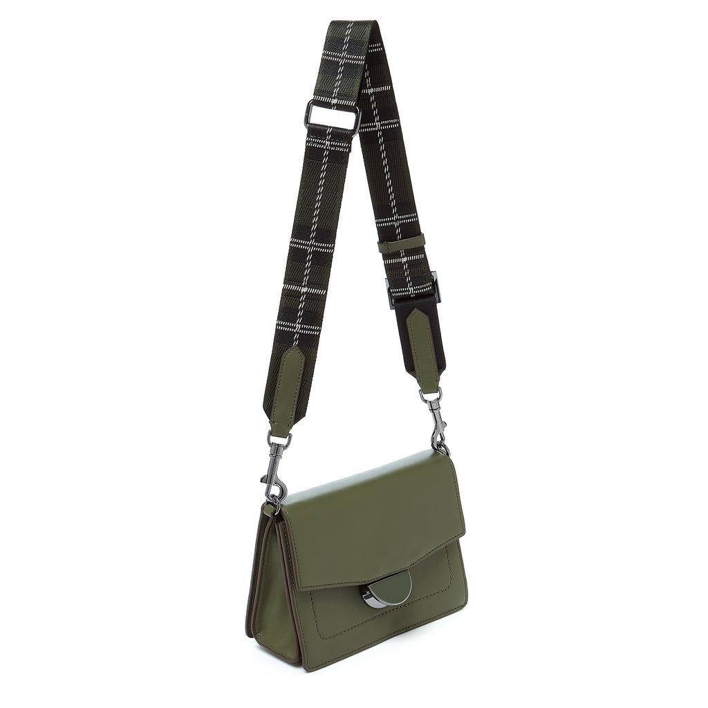 botkier astor crossbody hunter green webbed strap