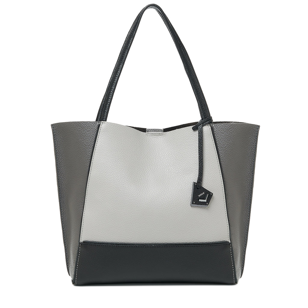 soho tote pewter combo front view