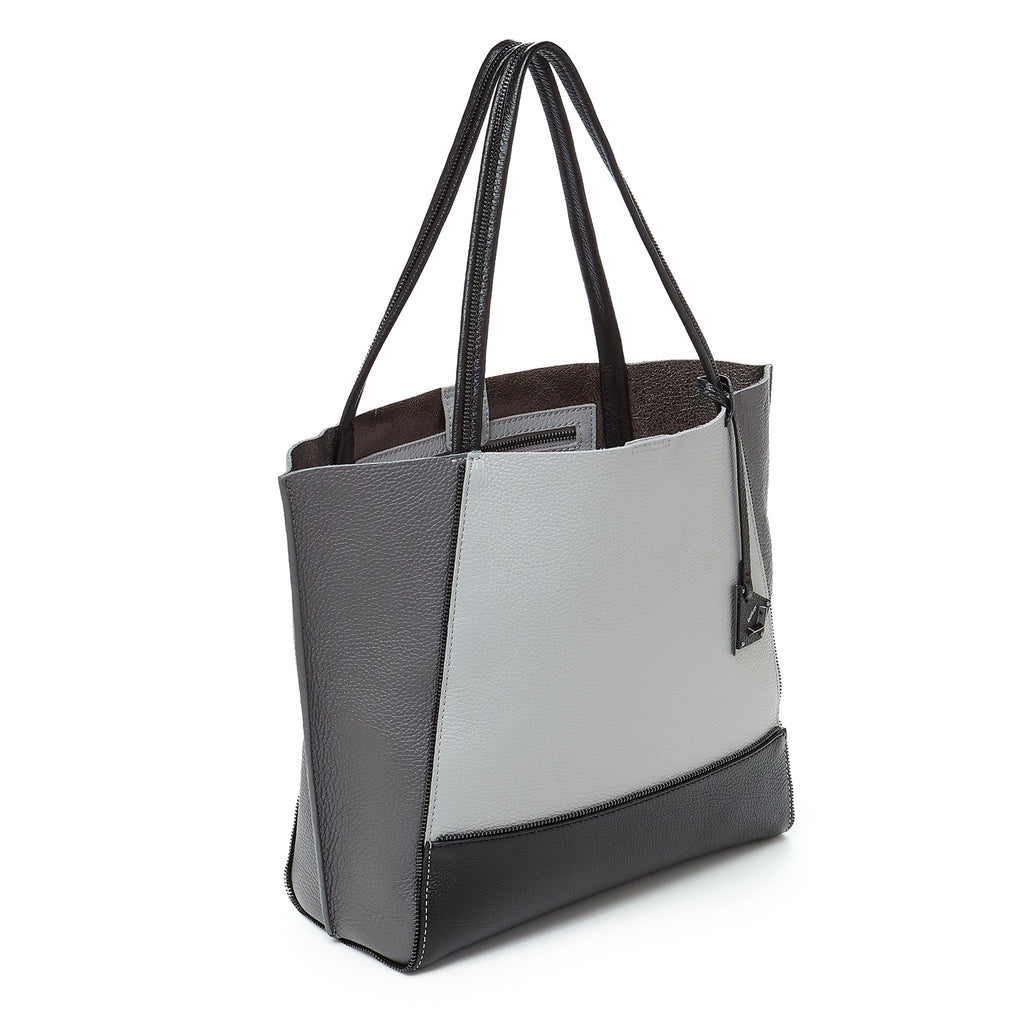 soho tote pewter combo angle view