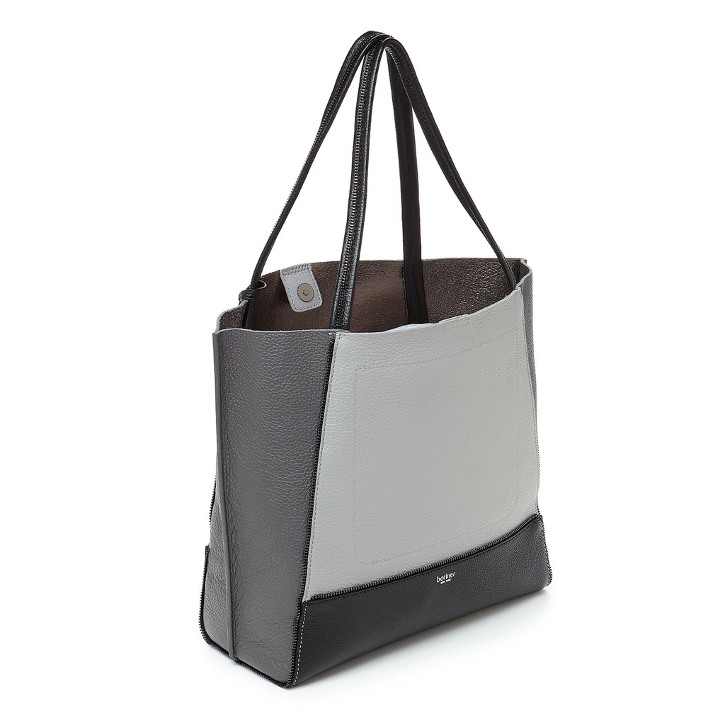 soho tote pewter combo back angle view