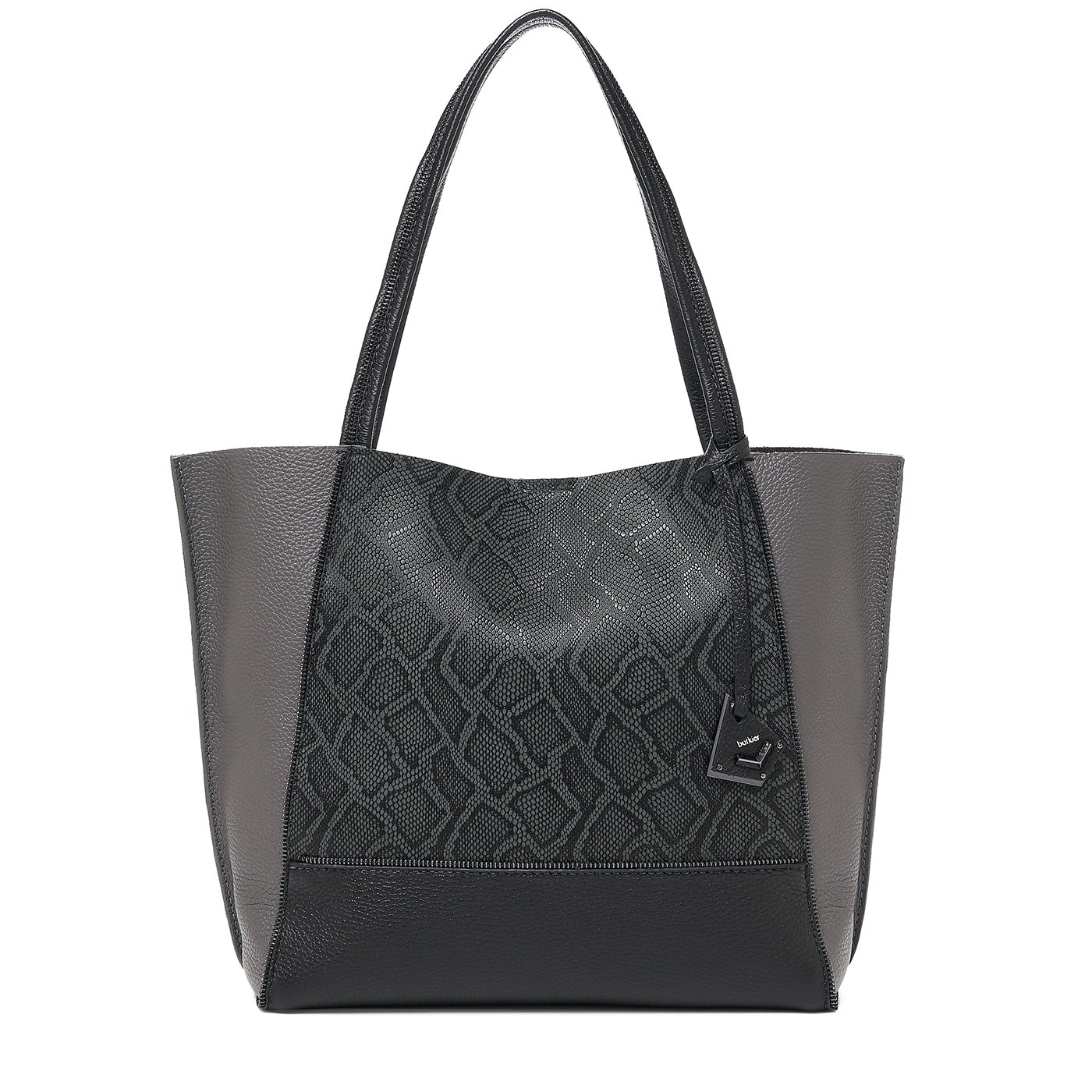 soho tote pewter snake combo front view