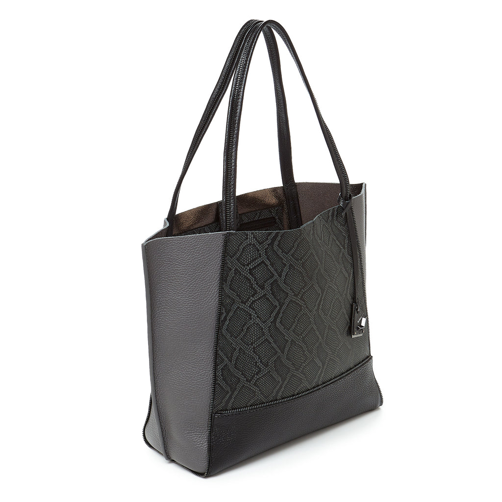 soho tote pewter snake combo angle view