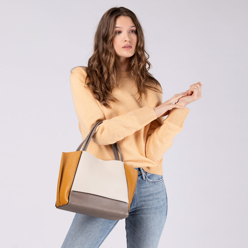 botkier soho bite size tote golden truffle combo on figure
