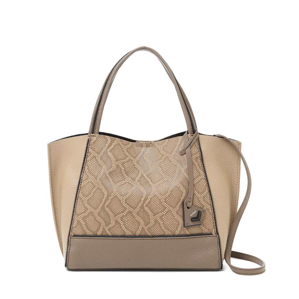 botkier soho bite size tote golden truffle snake front view