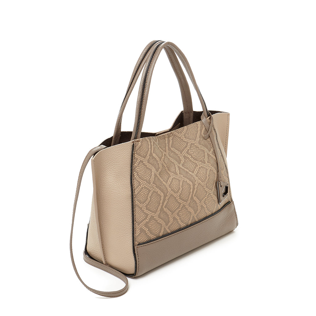 botkier soho bite size tote golden truffle snake front angle view