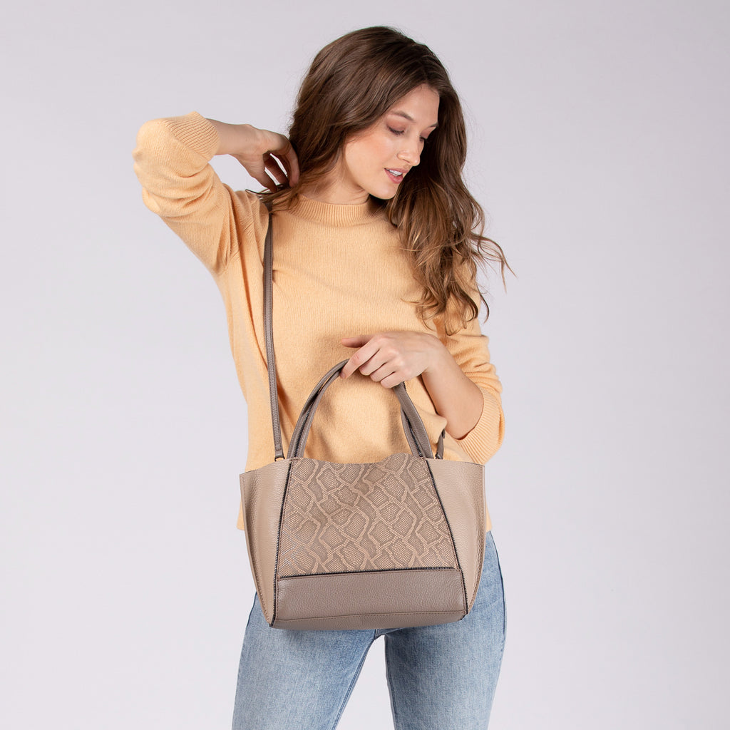 botkier soho bite size tote golden truffle snake on figure