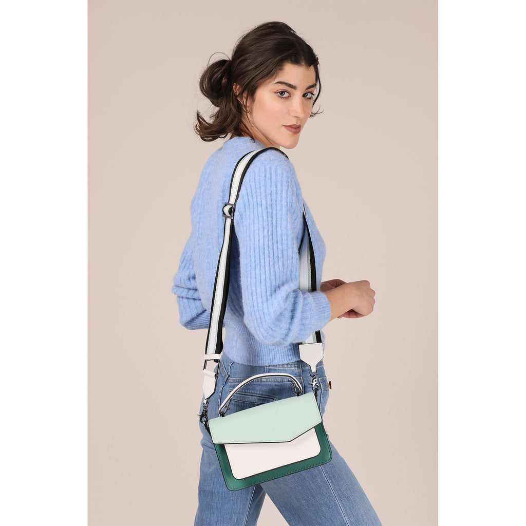 botkier cobble hill structured asymetric flap crossbody in ivy green, soft sage green, and white colorblock