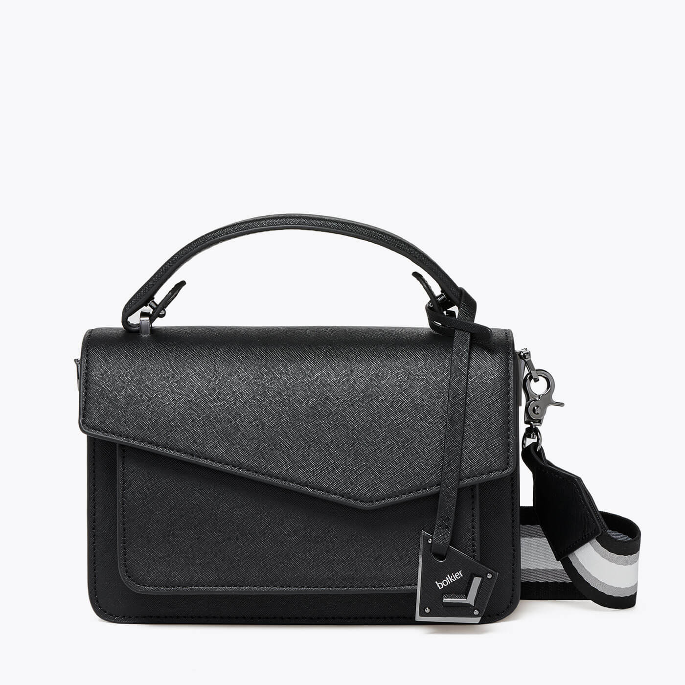botkier cobble hill structured asymetric flap crossbody in black