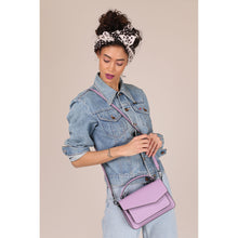 botkier cobble hill structured asymetric flap crossbody in lilac purple