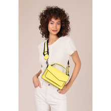 botkier cobble hill structured asymetric flap crossbody in sunburst yellow