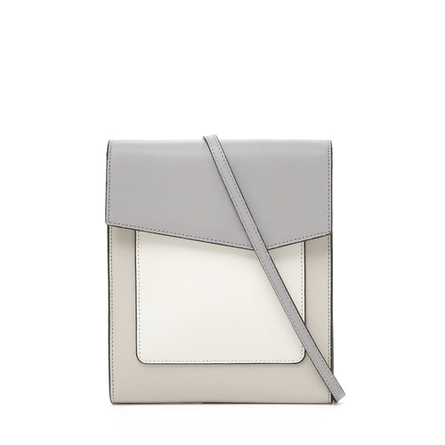 botkier cobble hill tall crossbody in dove grey, white, and silver grey colorblock