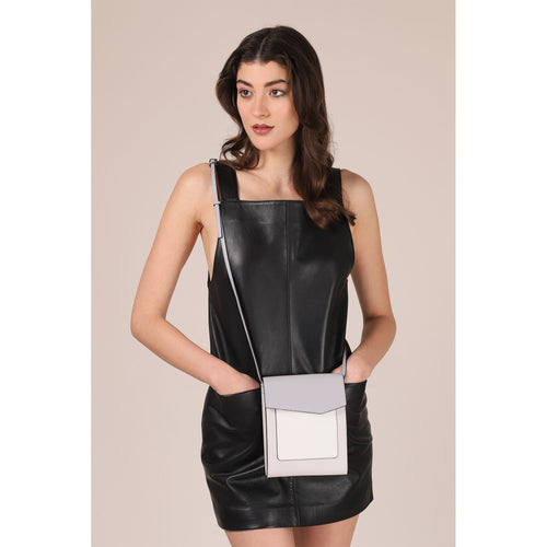 botkier cobble hill tall crossbody in dove grey, white, and silver grey colorblock Alternate View