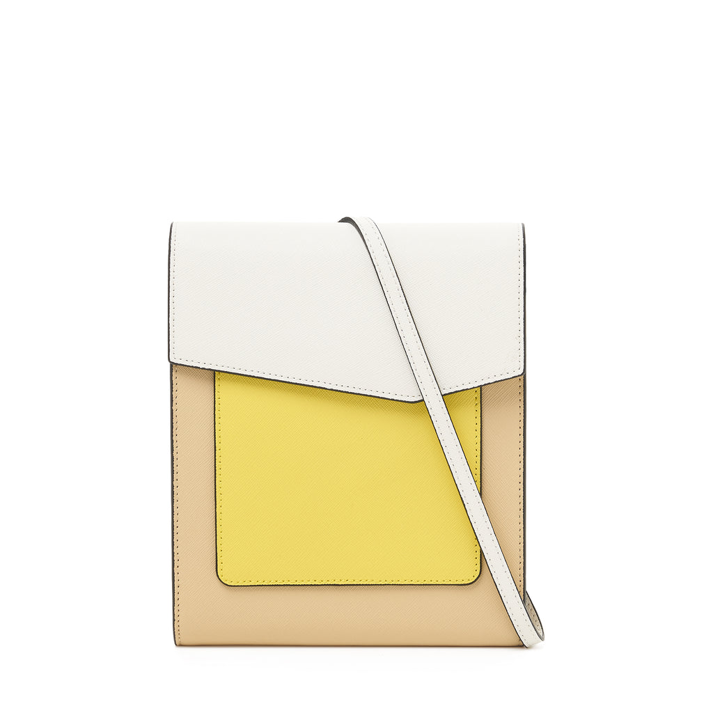 botkier cobble hill tall crossbody in fawn beige, yellow, and white colorblock