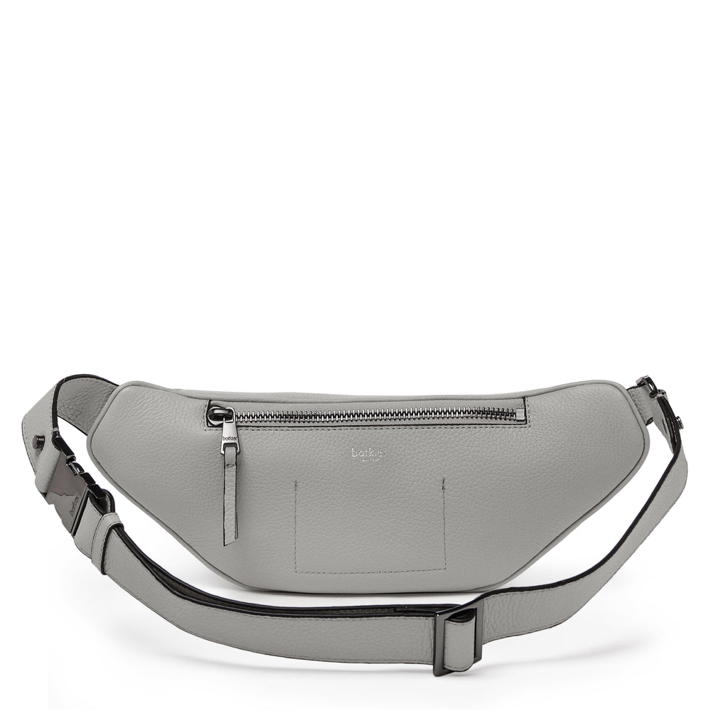botkier valentina front clasp belt bag in silvery grey