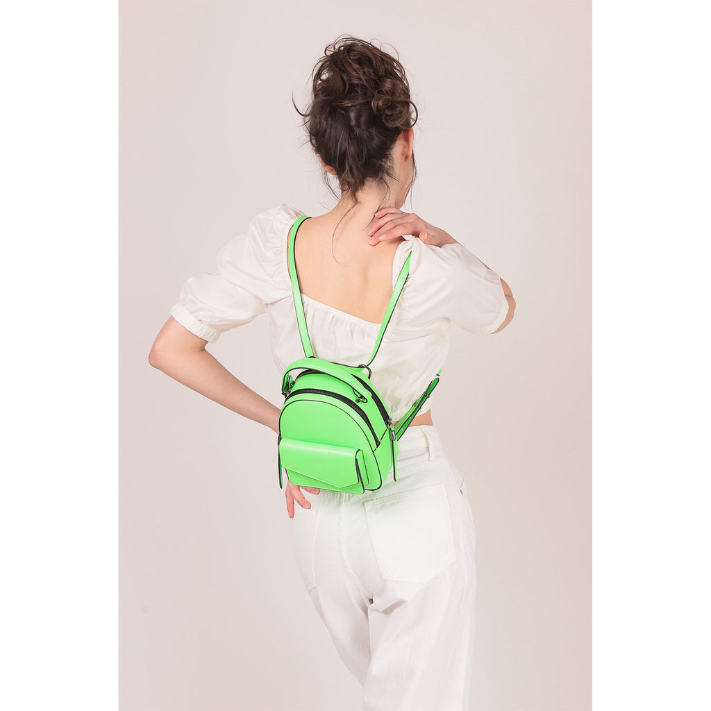 botkier cobble hill mini backpack neon green on figure