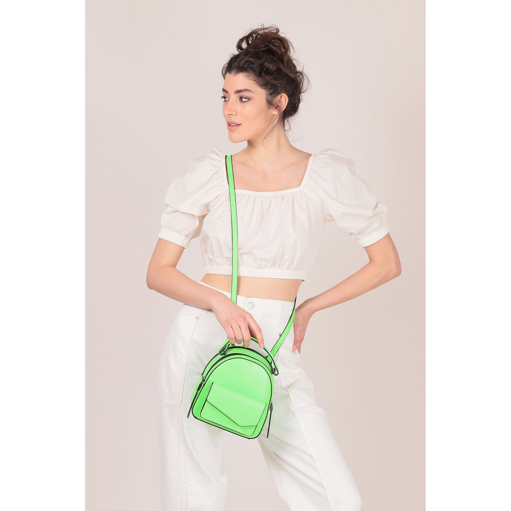 botkier cobble hill mini backpack neon green on figure crossbody