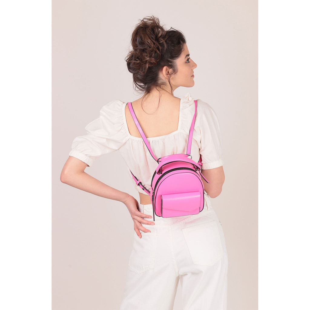 botkier cobble hill mini backpack neon pink on figure