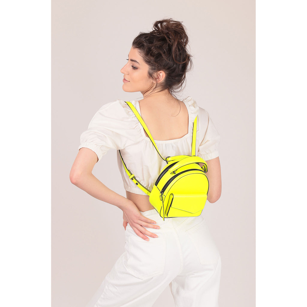 botkier cobble hill mini backpack neon yellow on figure