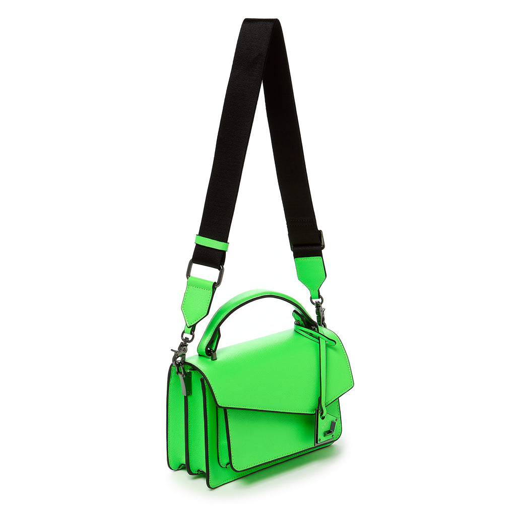 botkier cobble hill crossbody neon green web strap