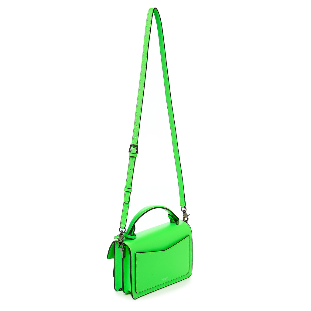 botkier cobble hill crossbody neon green leather strap