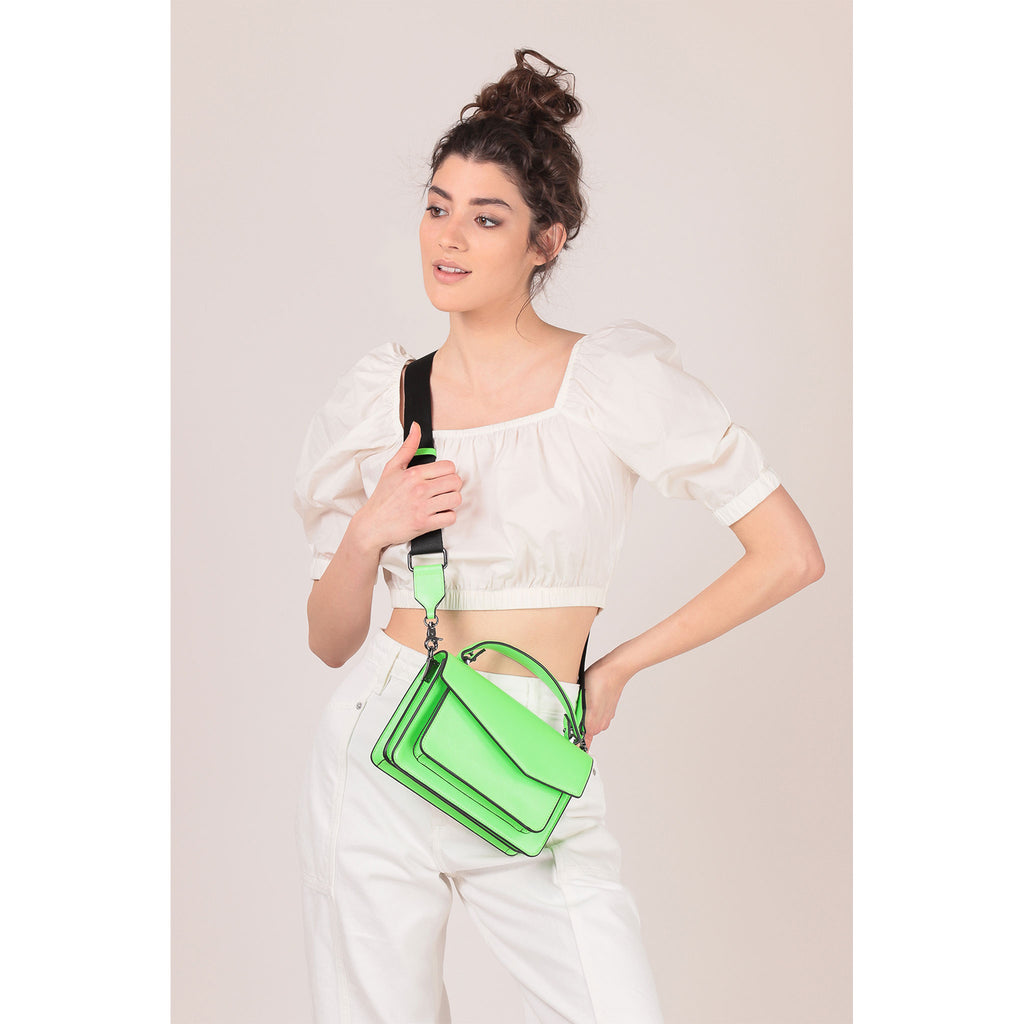 botkier cobble hill crossbody neon green on figure