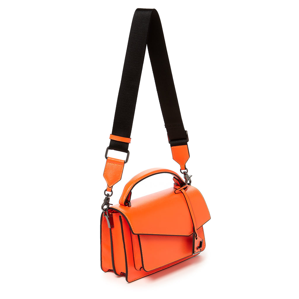botkier cobble hill crossbody neon orange web strap